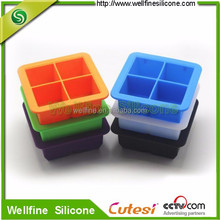 Food Grade colorful silicone ice cube tray with lid