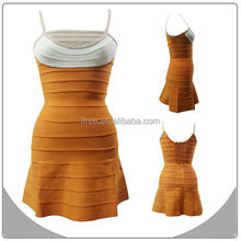 2014 fashion sleeveless orange and white bandage dress