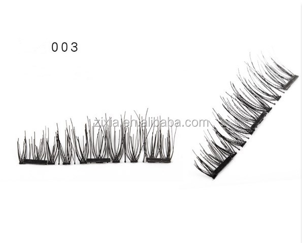 Hot selling 3D natural silk made 3 magnets lashes high quality magnetic false eyelashes