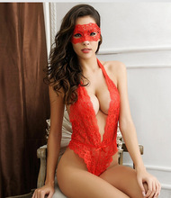 Women Sexy Lingerie Teddy Deep V Lace Bodysuit With Eyes Cover