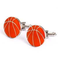 Orange Basketball Sport Round Cufflinks For men Novelty Cufflink Hot sale