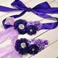 Purple Sash & Headband Set Newborn Headband With Chiffon Flower Ribbon Luxe Bridesmaid Sash Photo Prop