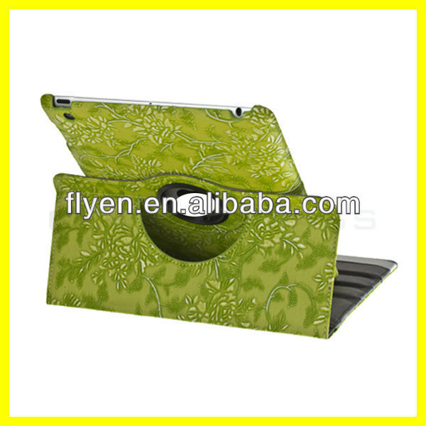 Engraving Embossed Leather Green For iPad 3 4&2 Slim PU Leather Smart Cover Case 360 Degree Rotated