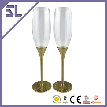Metal Wine Goblets Gold Wine Goblets Silver Wine Goblets With Crystal Decoration Unique Design Made With Eco-friiendly Material