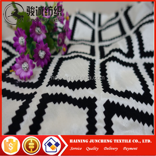 Wholesale 100 polyester flocking pattern curtain upholstery fabric