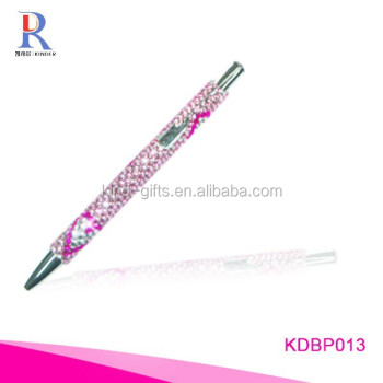 Rhinestone pink decorative cover ballpoint pen
