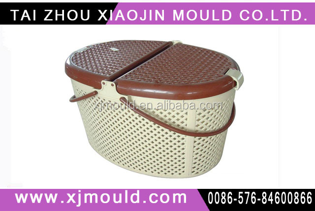 injection plastic basket with lid and handle mould,plastic injection picnic basket molding