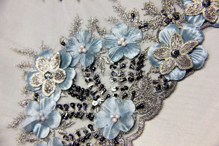 New hand work beading embroidery lace fabric with