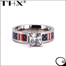 Cubic Zirconia Flag Camo Engagement Wedding Bands Women 5mm Pink Titanium Ring