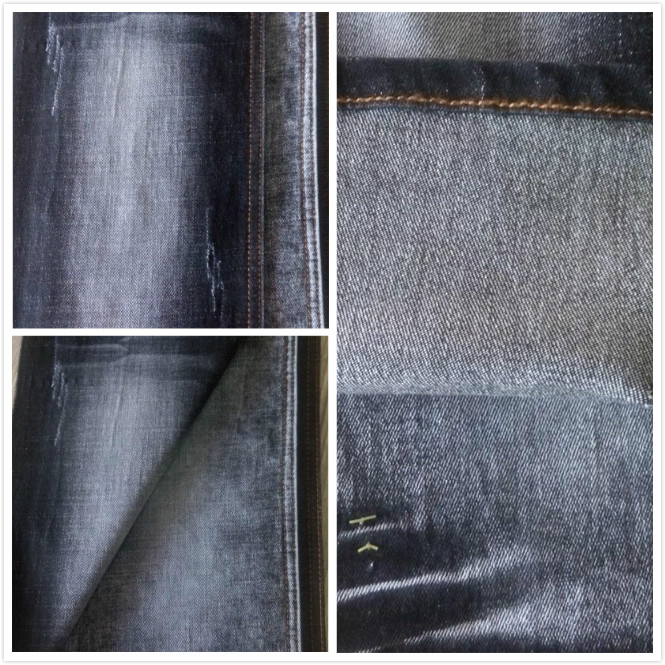 Black woven technics yarn dyed raw jeans material/disdress denim fabric for stocklot clothing