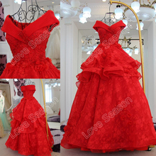 RP50001Hot red aliexpress real lace dress layers ball gown organza fashion girls' dress sweetheart off shoulder party prom dress
