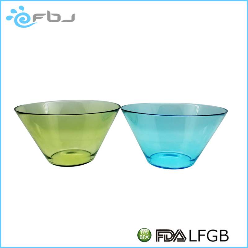 4000ML Large Soda Lime Color Hand Painted Glass Salad Bowl Family use Deep Soup Bowl