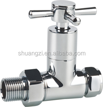 CE Polished Chrome cross head straight style brass radiator valve