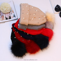 Fashion Winter faux Fur Pompom Knitted Beanie Hats Fancy Baby Pink