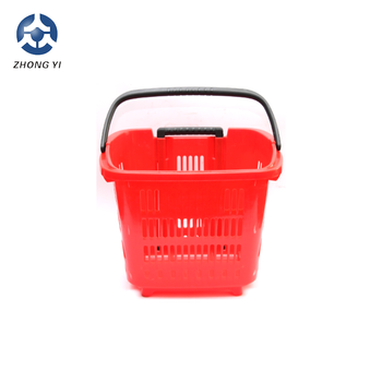 2 Wheels Plastic Rolling Carry Shopping Basket