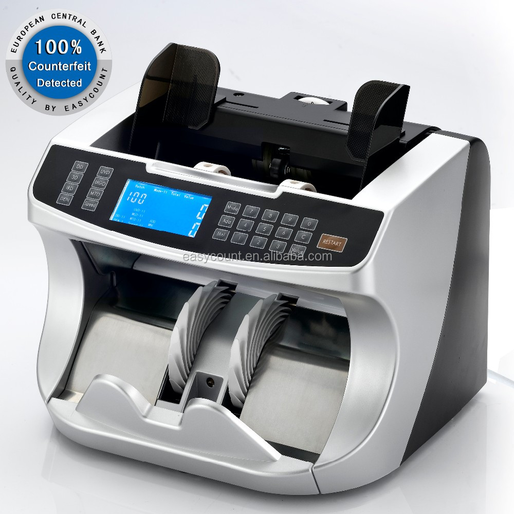 EC960 USD / EURO Cash Bill Money Currency Counter With UV MG Detection Counting Machine