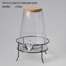 6450ml Cone-shaped Glass Water Dispenser with Tap and Wood Lid