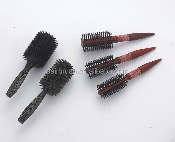 Nylon mixed boar bristle wooden handle hair brush