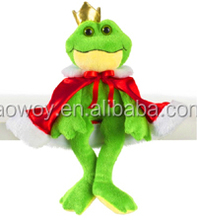 little frog prince with cape plush toys custom logo printed gift animal toys little frog prince with cape131