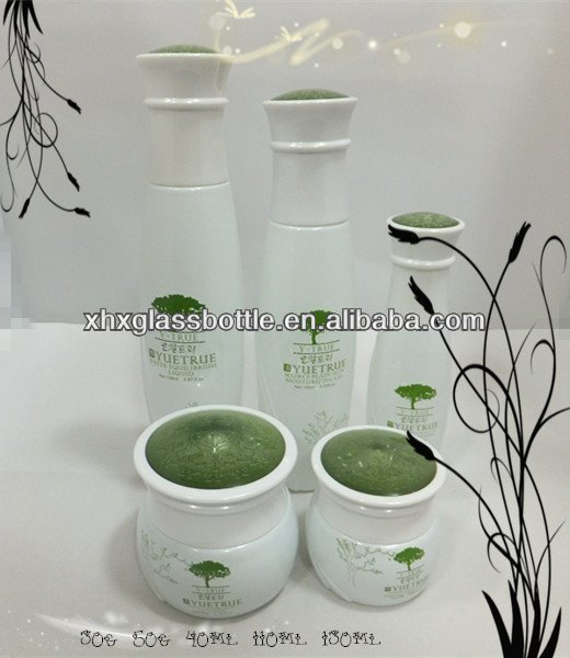 Fancy Unique Design Lady'S Cosmetic Empty Glass Bottle Jar With Printing Series For Natural Cream And Lotion