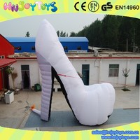 High quality giant advertising inflatable shoes, white inflatable high-heel shoes