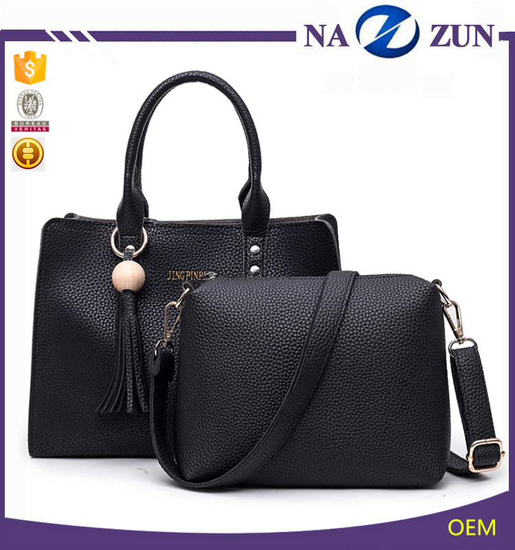 China gold supplier fashion 2 pieces ladies handbags set for women classic design purse handbags