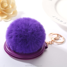 FK122 Rabbit fur ball keychain folding mirror for winter makeup car key ring pendant portable mirror for bag charms pendant