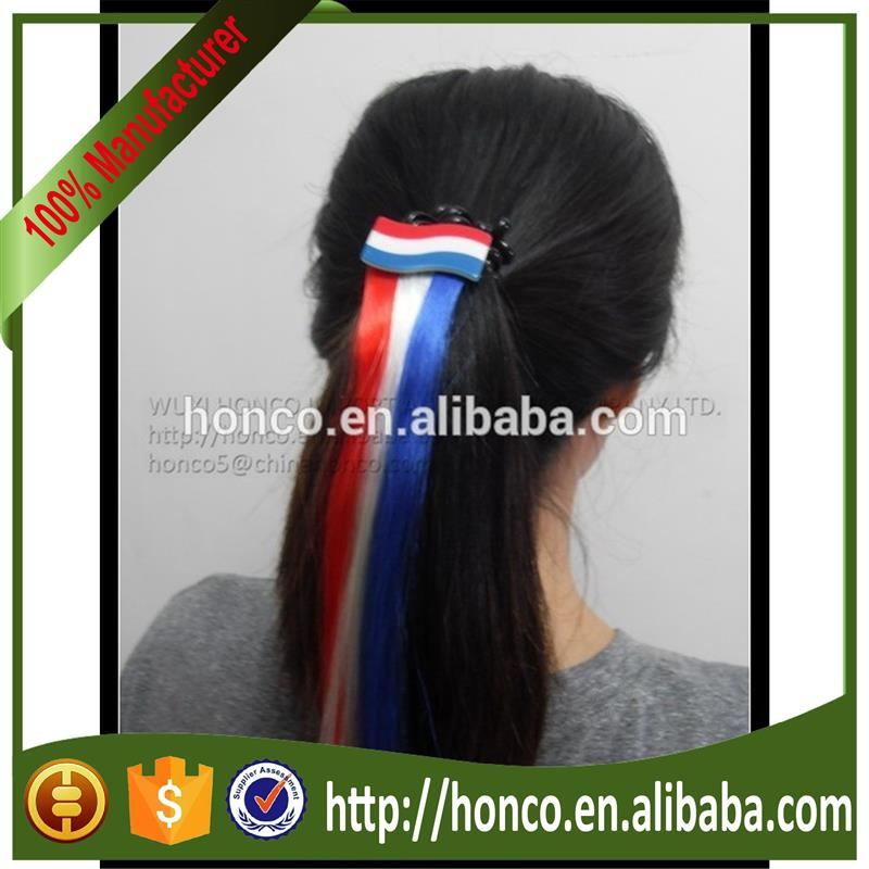 France Football Fans long hair cilp/flag long hair clip/flag long wig for Euro 2016