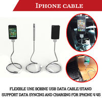 Flexible stand up metal UNE bobine USB data sync charge cable for Apple iphone 4 4s ipod (Stand Holder)