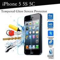 0.26mm Thin Premium 0.25D 9H Tempered Glass Screen Protector for iphone 5S iPhone 5C