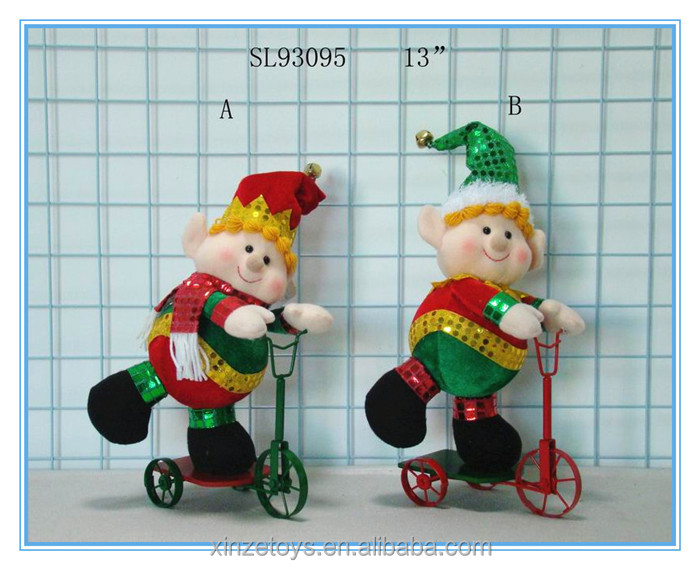 Festival china style soft elf doll on trike for Christmas
