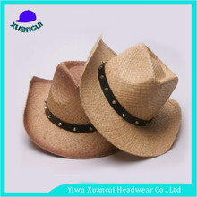 Cheap plain wholesale straw cowboy hats Shapeable Straw Western Cowboy Hat with strap