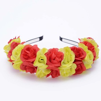 AP32294 Wholesale new product simulation rose flower garland bridal wedding flower head band fabric flower hair band for women