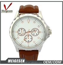 men fashionable sporty design leather & silicone strap sport watch for man