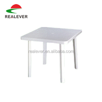 Cheap plastic garden table four legs white stackable plastic table