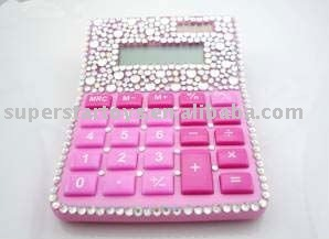 pink calculator with artificial diamond