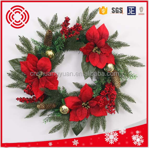 New Design 50cm PE Leaves Artificial Handmade Wreaths