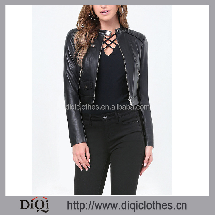 Export Luxurious Leather Jacket,Factory Price Custom OEM Sporty Zip Leather Moto Jacket