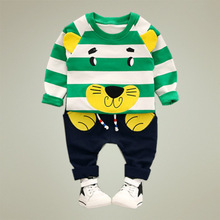 aile rabbit Korean clothes fall 2017 new children baby clothes lion print stripes two-piece set boy clothing