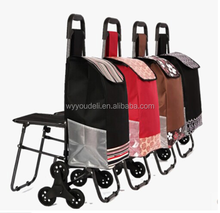kinds print folding shopping trolley bag with 6 wheels and chair