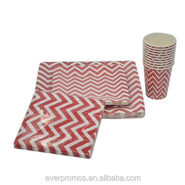 Top Quality Custom Printed Red Ripple Paper Party Sets Cheap Paper Plate Manufacturer