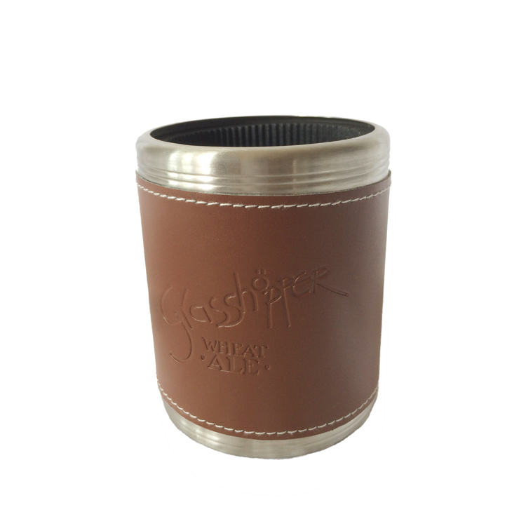PU leather wrapped stainless steel cola can holder can cooler