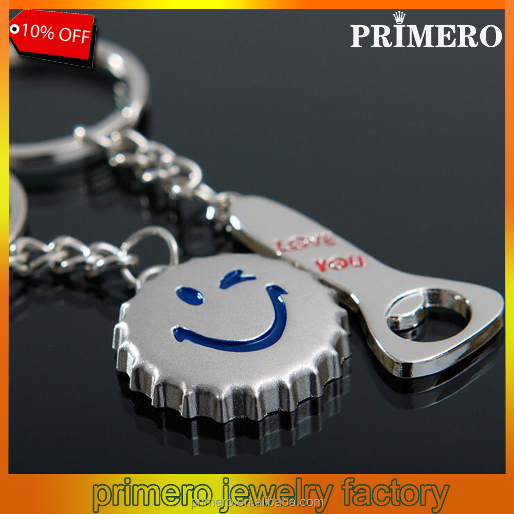 Cartoon Smiley Bottle Opener Couple Keychain Key Ring Chain Funny Gift Wholesale