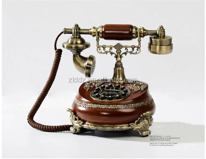 Telephone Manufacturer Faux Wood Antique Brass Telephone