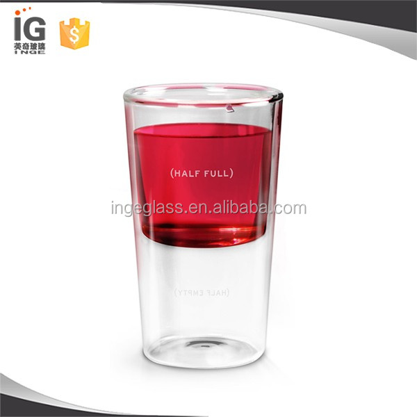Double wall half full glass,Borosilicate glass wine glass,wholesale glass