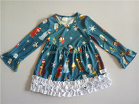 new design fall boutique outfits persnickety girls clothing with nativity printed dress red pants baby Christmas set