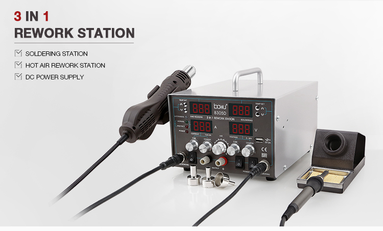 BAKU ba-8305D New Product Bga Smd Hot Air 3 in 1 Rework Soldering Station