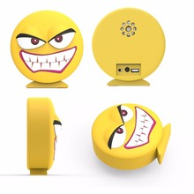 BSCI Factory Custom PVC emoji shape bluetooth speaker with free sample