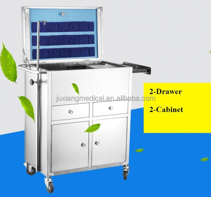 four-wheels hospital ambulance trolley/clinic emergency care cart stainless material