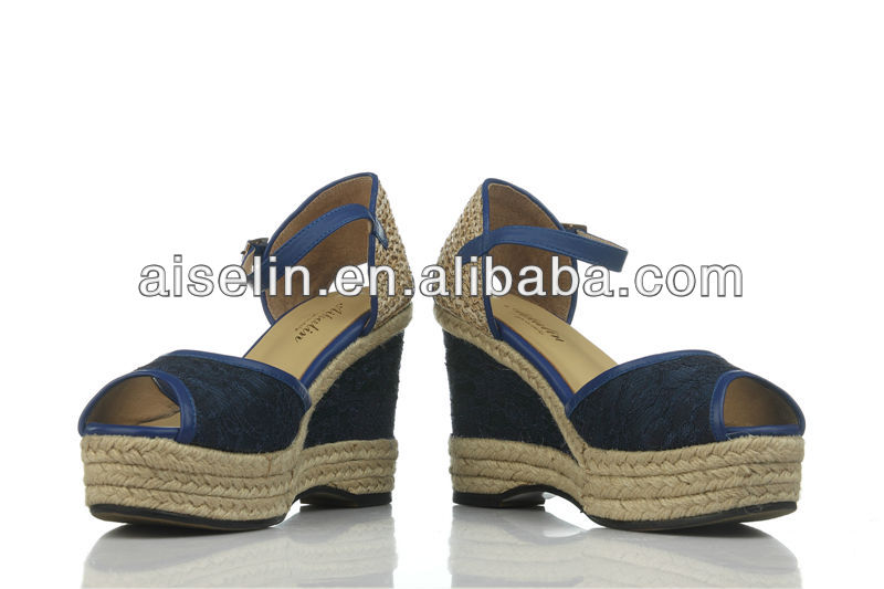 Latest unique style platform shoes royal blue wedge fashion sandal 2013